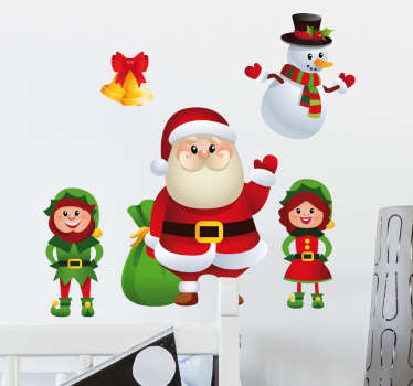 Christmas Wall Sticker. This cheerful wall decoration consists of Santa Claus, male and female elves, snowman and Christmas bells.