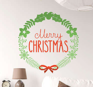 Sticker Merry Christmas couronne feuilles