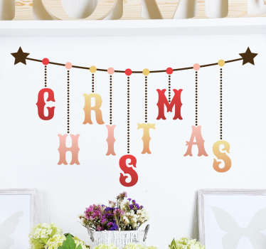 "This wall sticker consists of the word ""Christmas"" spelt across a line, with stars on either end."