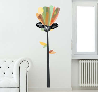 Abstract Vertical Flower Sticker