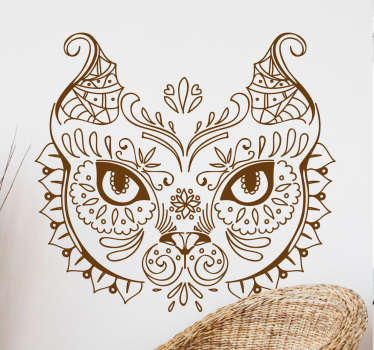 Decorative home wall sticker design of an owl created with ornamental flower pattern. It is self adhesive and easy to apply. Available in any size.