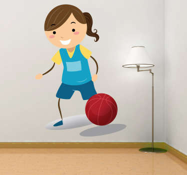 A vinyl decal of a little girl happily playing basketball. An original sticker suitable for all areas where children play and spend time.