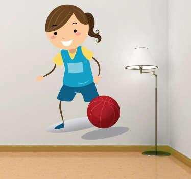 Wandtattoo Mädchen spielt Basketball