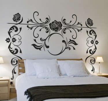 Vinilo cabecero cama rosal