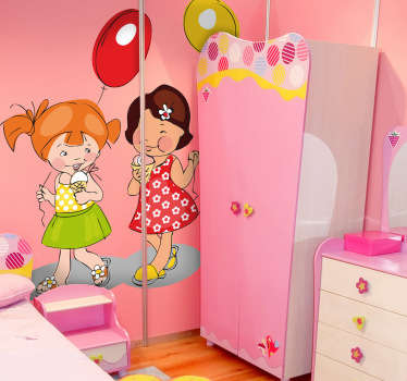 Girls, Ballons & Ice Cream Kids Sticker