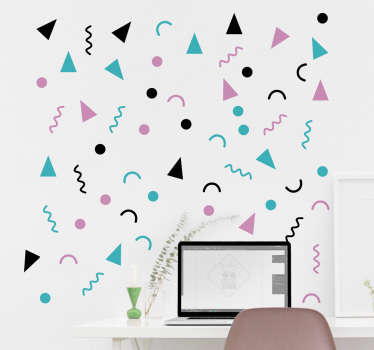 Wall Decal of geometric shapes from the 80s. These cute and funny shapes come in different colours and brighten up any wall.