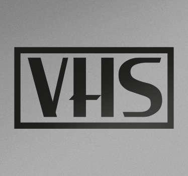 Vinilos retro para amantes de la tecnología de los años 80 con el característico logo de la marca de videos domésticos.