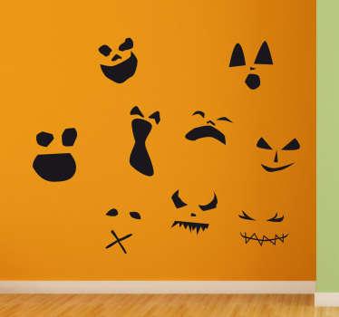 Muursticker Enge Gezichten Halloween