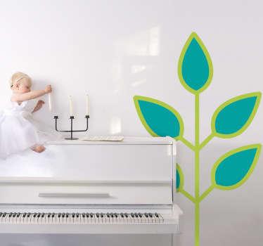 Sticker enfant feuilles bleues