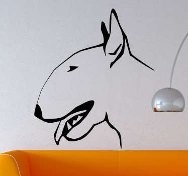 The wall sticker consists of a side wards shot of a bull terrier dog.