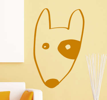 Bull Terrier Wall Sticker, a nice wall decoration for dog lovers. A beautiful decoration for the bedroom, living room or nursery.