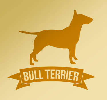 "The wall sticker consists of of a silhouette image of a dog, with the text ""bull terrier"" written underneath."