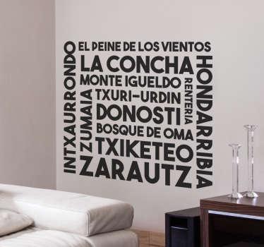 Vinilos del País Vasco con palabras y lugares de la provincia de Guipúzcoa. Sticker con diseño exclusivo ideal para decorar la sala de tu casa que desees.