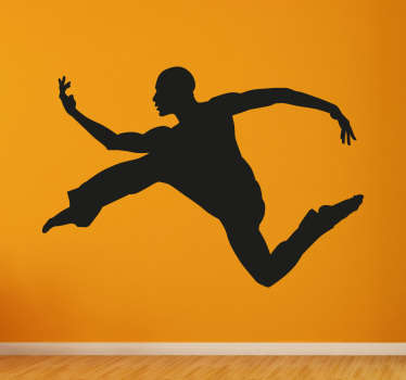 Wall Decal of a silhouette of a dancing man, a beautiful wall decoration for dancers.