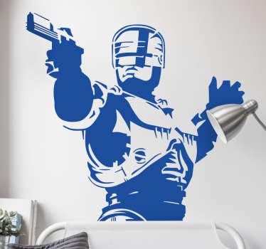Retrato en vinilo mural de tu personaje de ficción favorito, el policía vengador mecánico Robocop.