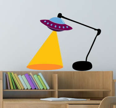 This fun children's wall sticker consists of a lamp, with a UFO as a bulb, emitting light from the ship.