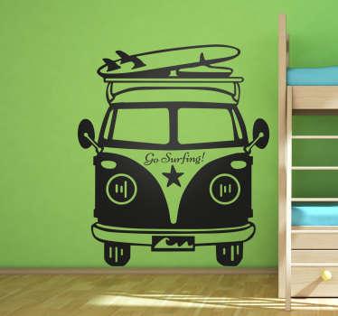 Muursticker Hippie Busje Go surfing