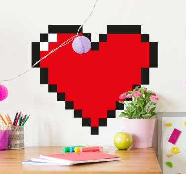 Pixeleret hjerte klistermærke