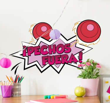 """Vinilos Mazinger Z, con una original ilustración tipo cómic en la que aparece el texto """"pechos fuera""""."""