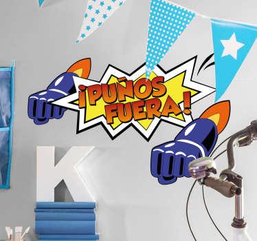 """Pegatinas Mazinger Z, con una original ilustración estilo cómic en la que aparece el texto """"puños fuera""""."""