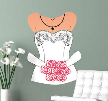 Wall Decal of a wedding dress with a bouquet, a lovely wall decoration for newlyweds or engaged couples