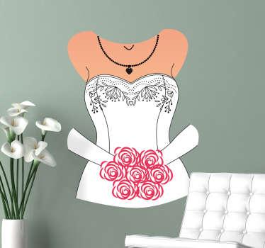 Wandtattoo Brautkleid Büste