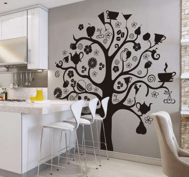 Vinilo decorativo representado por un original árbol cocinero. Adhesivo decorativo disponible en 48 colores.