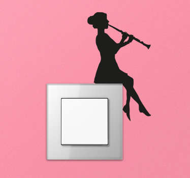 Give your light switches and plug sockets a unique touch with this silhouette wall sticker of a woman with a clarinet. Perfect light switch decal to provide a lovely aesthetic to even the most boring parts of the room.