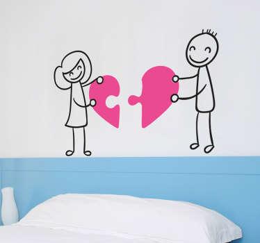 Vinil casal puzzle de coração