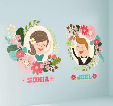 This wall sticker consists of a couple as a cartoon, the names and the date are adapted individually to meet the customer's needs.