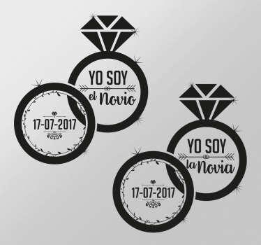 Vinilos para bodas en la que aparecen una serie de anillos entrelazados, uno para el novio y otro para la novia.
