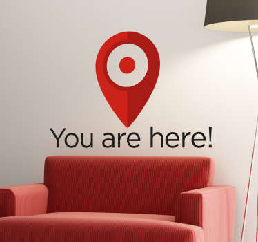 "This funny wall sticker consists of a marker used by Google with the lettering ""You are here"". High quality vinyl material."