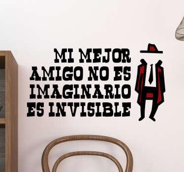 Vinilos decorativos originales amigo invisible, disponibles en gran variedad de tamaños, ideales para decorar cuartos juveniles.