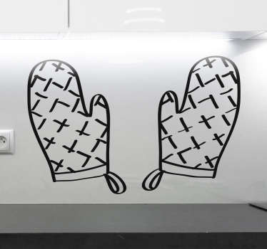 This kitchen wall sticker consists of two oven gloves and is perfect for lovers of cooking. The cooking sticker is available in up to 50 colours.