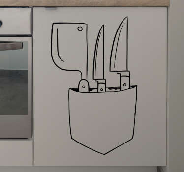This kitchen wall sticker consists of a bag with kitchen knives.