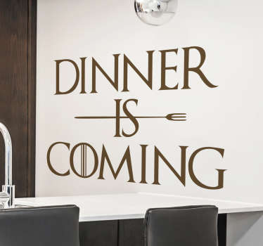 Večeře přichází nástěnná kuchyňská nálepka