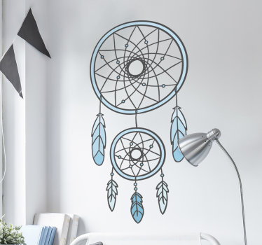 With this great dream catcher wall decal, you will sleep like a baby! The wall sticker consists of a blue dream catcher with feathers.