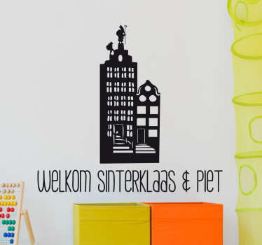 Muursticker welkom Sinterklaas en Piet, een mooie wanddecoratie met Sint en Piet op een klassiek rijtjeshuis.