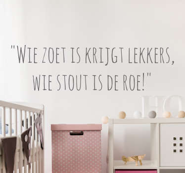Muursticker Sinterklaas wie zoet is