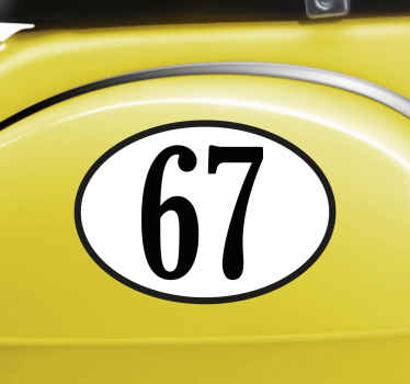 The adhesive film consists of a personalised number of your choice in an oval.
