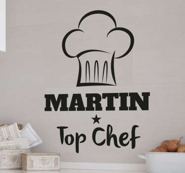 This original kitchen wall sticker consists of a cooking hat with the words 'Top Chef' written below. Let someone know that you think their cooking's great by personalising the name of the chef.