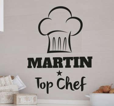 Adesivo nome personalizzabile chef