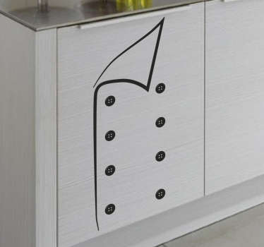 This kitchen wall sticker consists of a cooking jacket, adding a lot of character to your kitchen.