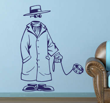 The wall sticker consists of an invisible man with hat, sunglasses and a long coat, while also walking his invisible dog on the lead.