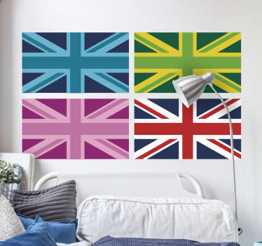 The wall sticker consists of 4 Union jacks with different filters. Discounts available. Worldwide delivery available now.