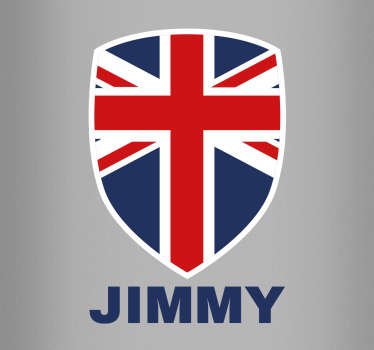 This sticker consists of the Union Jack flag, in the form of a coats and arms badge, with your own personalised name below.
