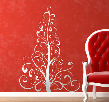 Why not try this wall sticker of a Christmas tree. The wall decal consists of a Christmas tree made of ornate lines.