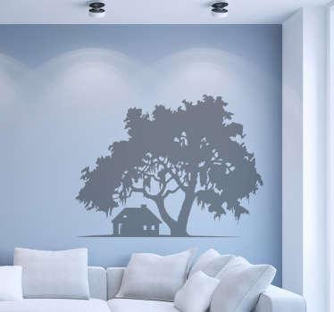 Vinilo decorativo casa y árbol