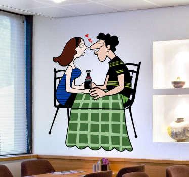 Adesivo coppia innamorati cena