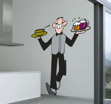 The wall sticker consists of a waiter, who brings a large bowl of soup and drinks to a table.
